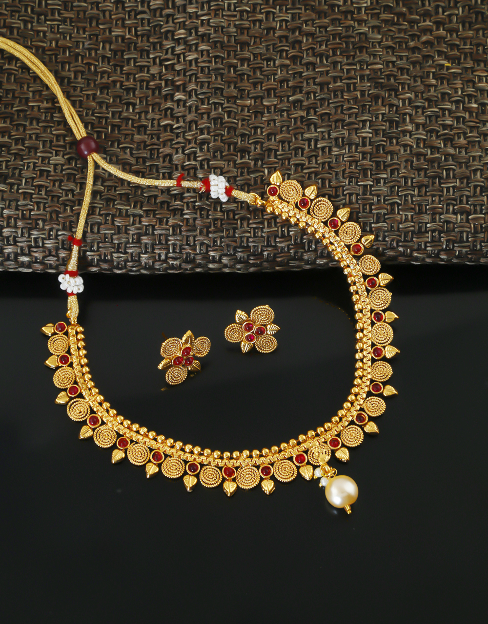Pink Colour Gold Finish Short Traditional Necklace Jewellery