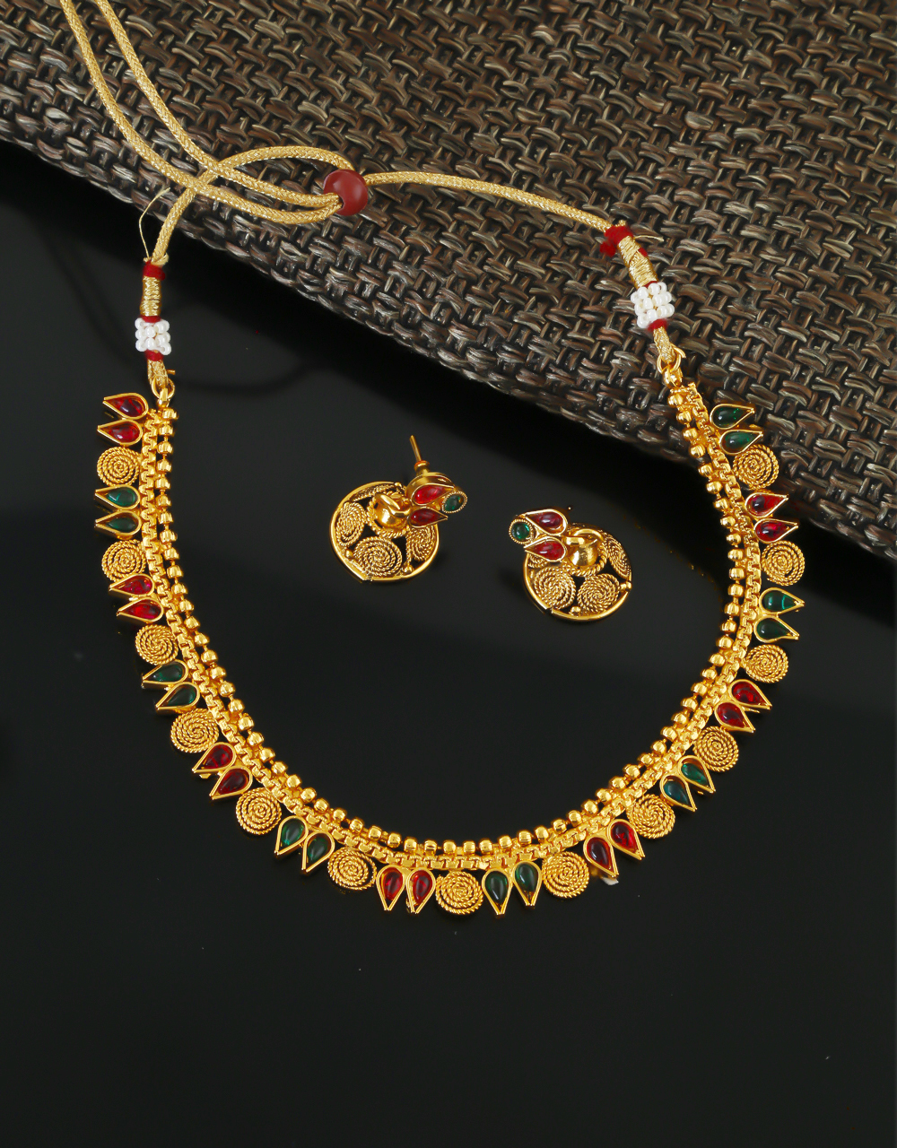 Multi Colour Gold Finish Fancy Traditional Necklace For Girls