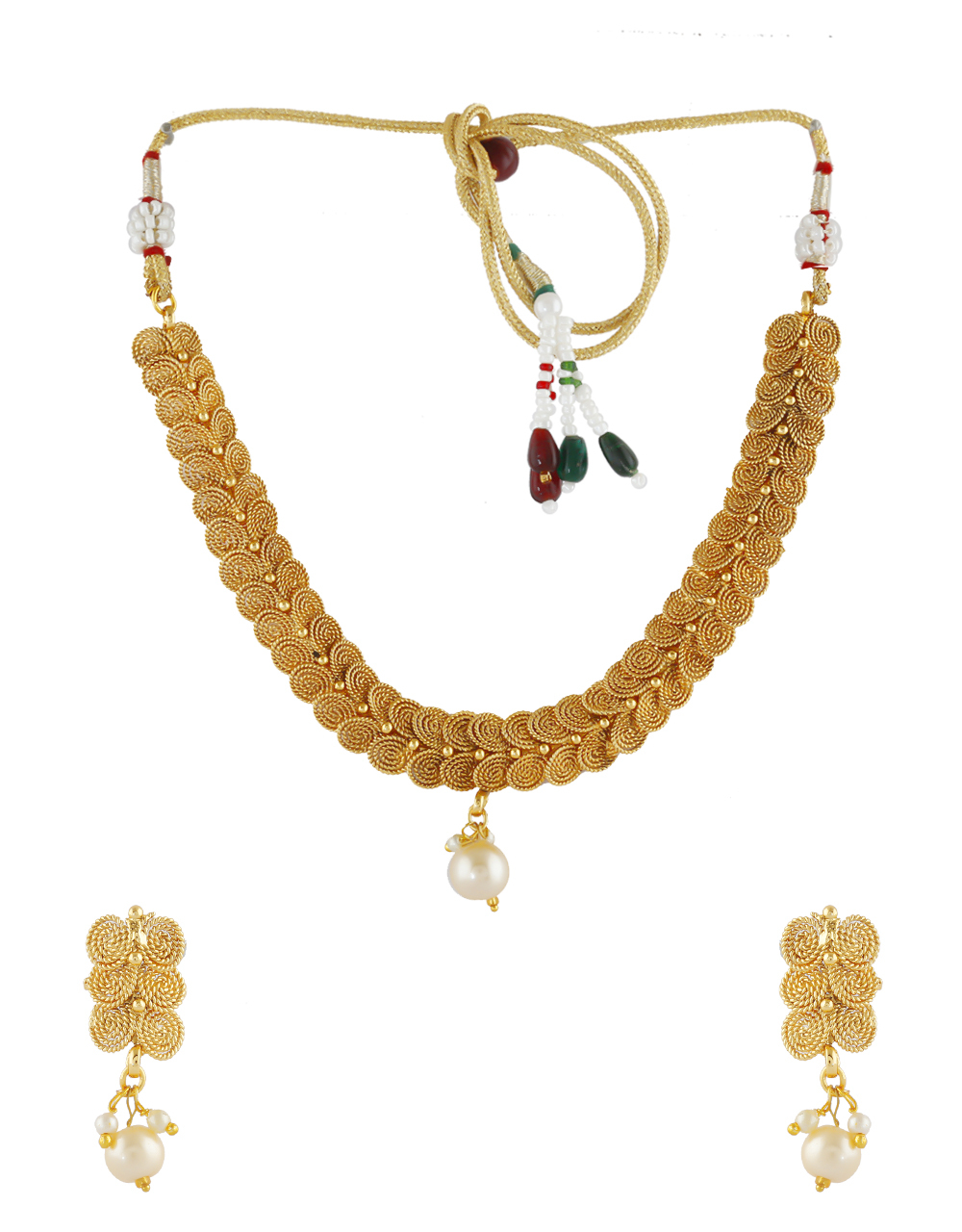 Gold Finish Traditional South Indian Jewellery Necklace