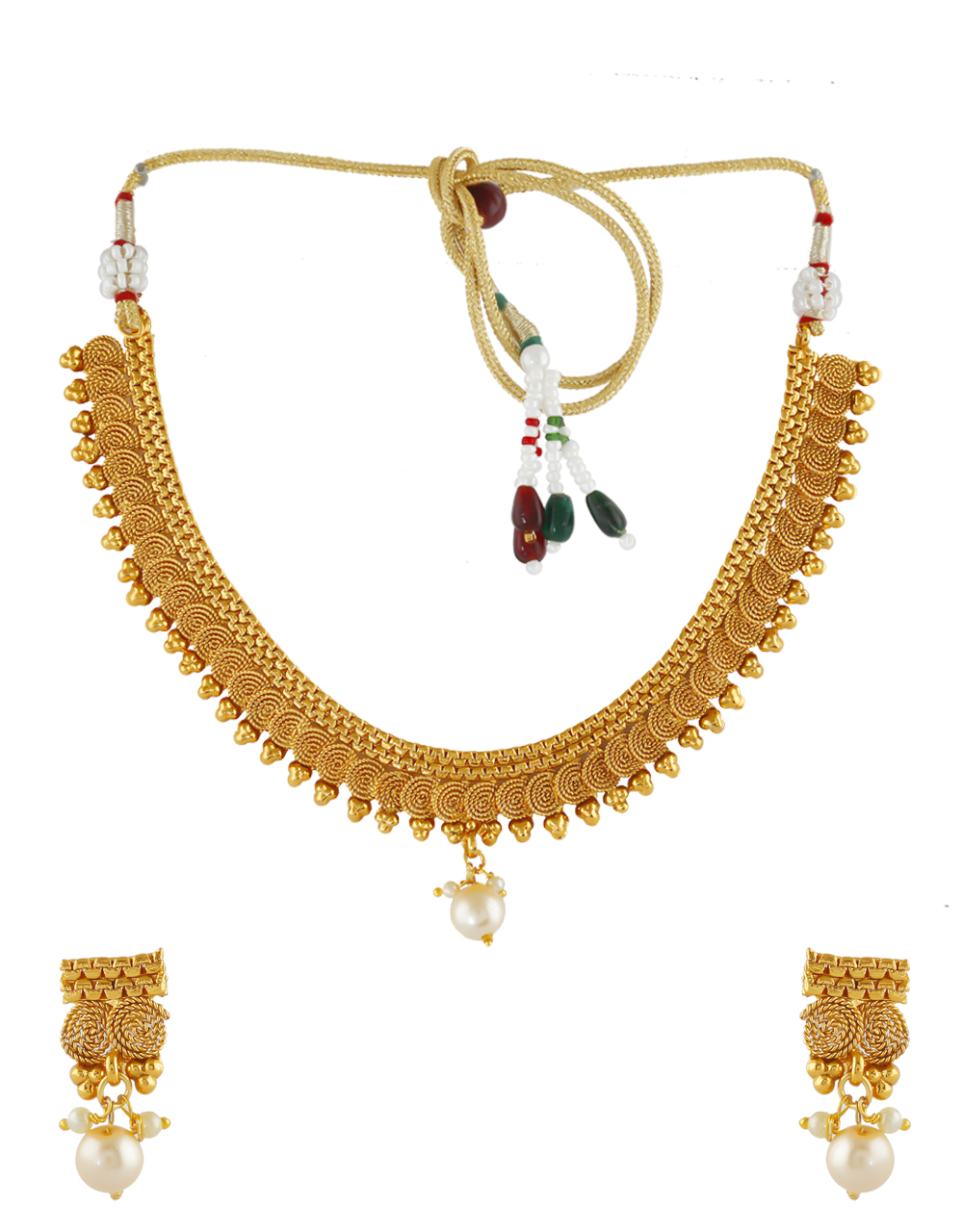 Fancy Gold Finish Traditional Necklace For South Jewellery