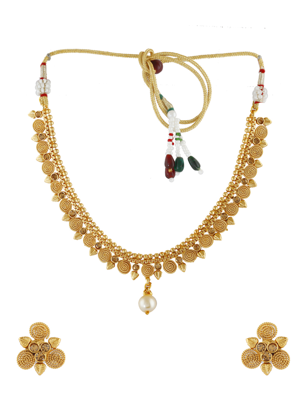 Leafy Design Gold Finish Stunning Traditional Necklace For Girls