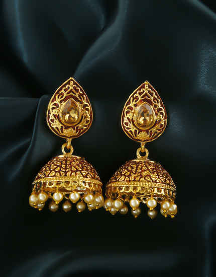Brown Colour Styled With Pearls Beads Jhumkaa