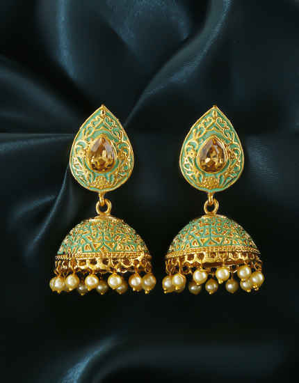 Green Colour Styled With Pearls Beads Fancy Jhumki