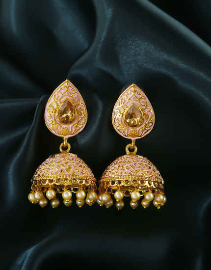 Pink Colour Gold Finish Pearls Styled Traditional Zumki