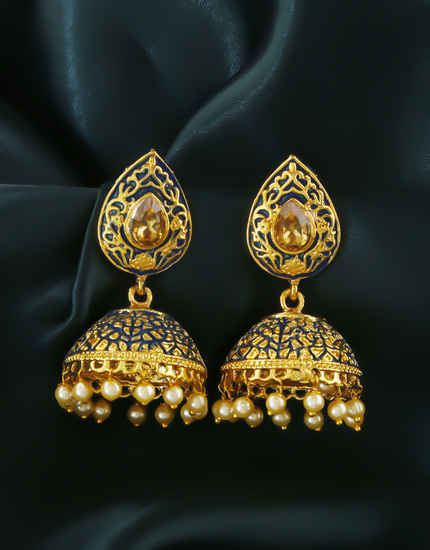 Navy-Blue Colour Gold Finish Pearls Styled Traditional Jhoomka