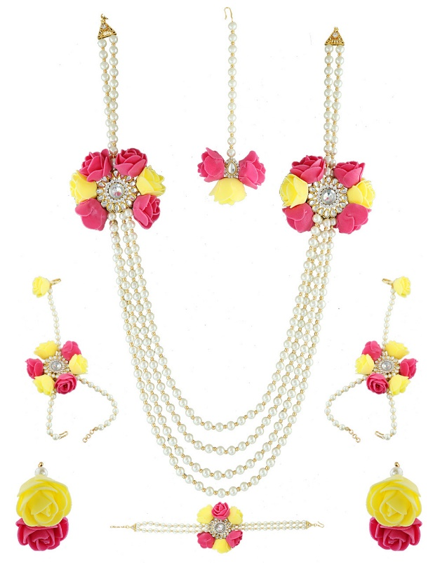 Pink Yellow flower necklace