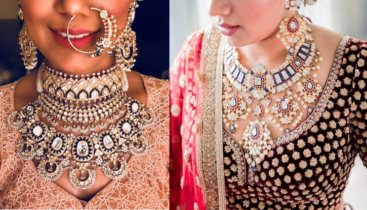 A mix and match of colourful bridal jewellery is also one option to pair a red lehenga with. Coloured crystals or beads woven and set onto a gold or silver base are equally breathtaking by the looks.  Even a pop of turquoise in a similar base of silver or gold can be considered to glamourise a bride dressed in a red lehenga.