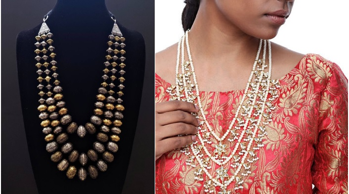 Maroon Patiala Suit and Triple Layered Jewellery