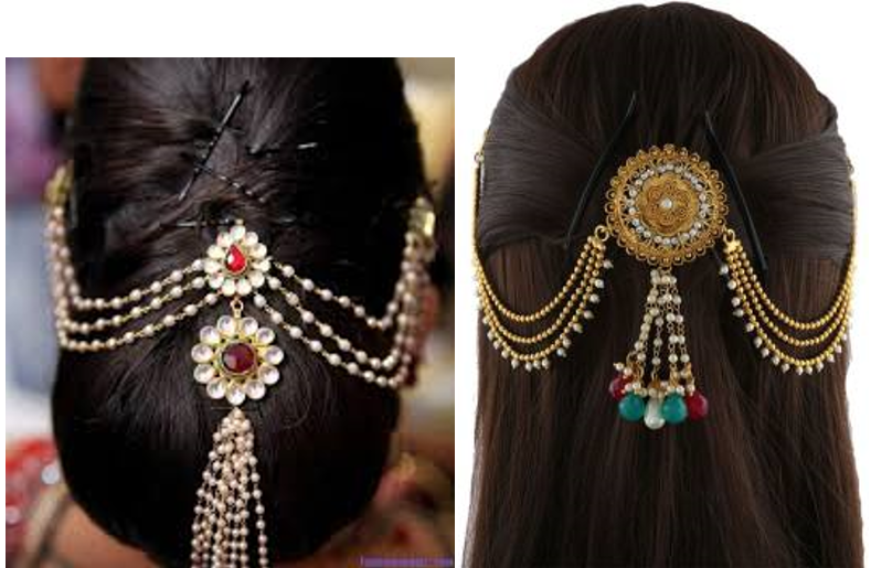 Multi-chained hair accessory with hanging charms or pendants